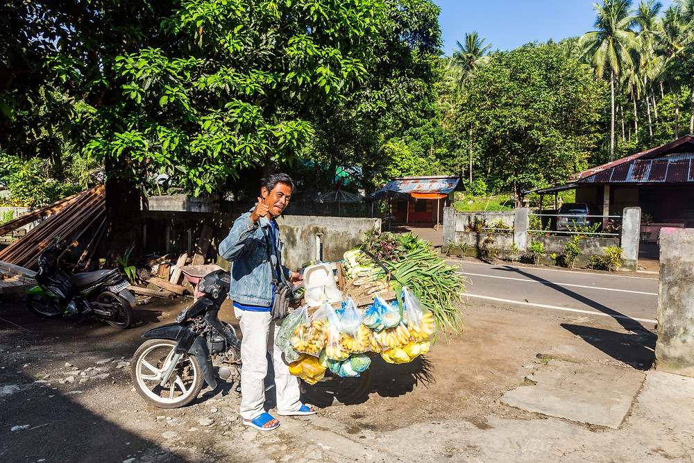 Sulawesi: Tangkoko - friendly neighbourhood vegetableman.