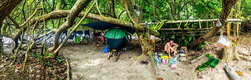 Sulawesi: Castaways - castaway camp panorama.