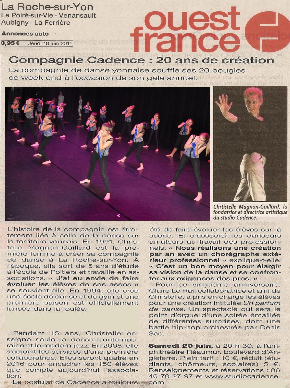 Ouest France Studio Cadence 20 ans