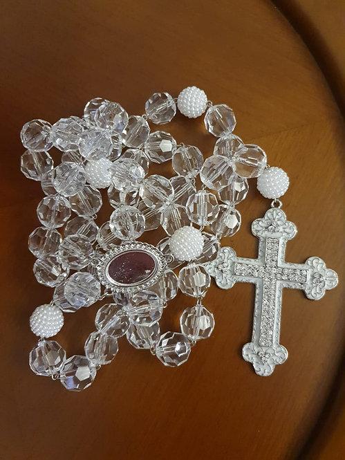 Terço Cristais com Relicário - Modelo 28
