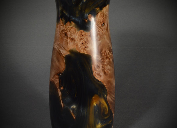 Hand turned maple burl with black and gold resin inlay vase