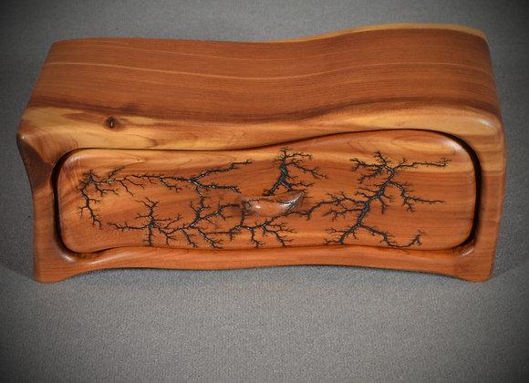 This cedar band saw box has fractal burning on it.
