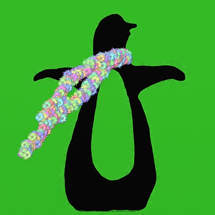 Pickled Too Much? by Shari P Kantor spkcreative.com black penguin with floral scarf on green background