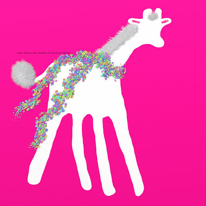 Redbud Too Much? by Shari P Kantor spkcreative.com white giraffe with floral scarf on pink background
