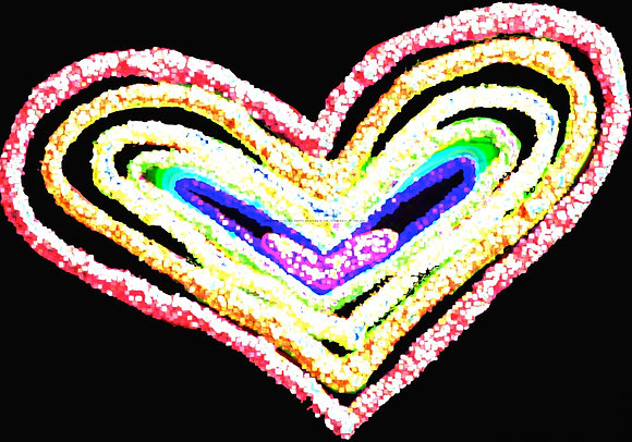 Love overboard by Shari P Kantor spkcreative.com digital rainbow heart on black background