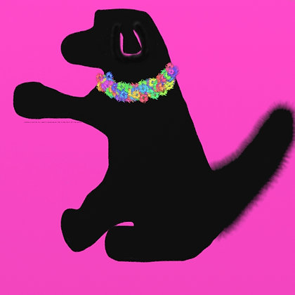 Flower Too Much? by Shari P Kantor spkcreative.com black dog with floral collar on pink background