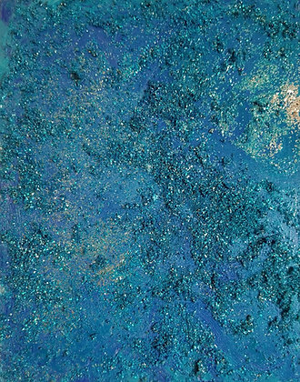 Belong Here by Shari P Kantor spkcreative.com is a textured abstract of undersea life and glitter