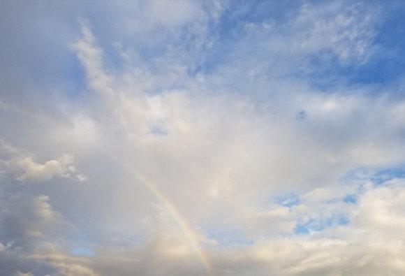 Inner Beauty by Shari P Kantor spkcreative.com rainbow in clouds with blue sky photograph