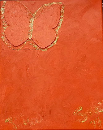 Music In You by Shari P Kantor spkcreative.com abstract orange butterfly