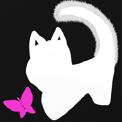 Outer Look What I Found by Shari P Kantor spkcreative.com white kitten with pink butterfly on black background