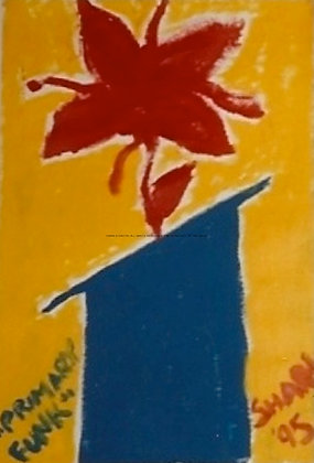 Primary Funk by Shari P Kantor spkcreative.com abstract red flower in blue vase on yellow background