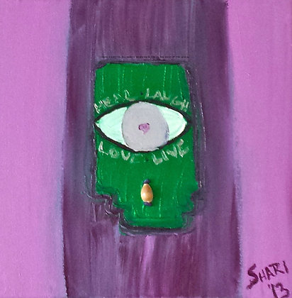 Hamsa by Shari P Kantor spkcreative.com Judaica purple and green hand of G-d