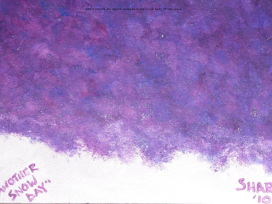 Another Snow Day by Shari P Kantor spkcreative.com abstract winter landscape with snow and purple sky