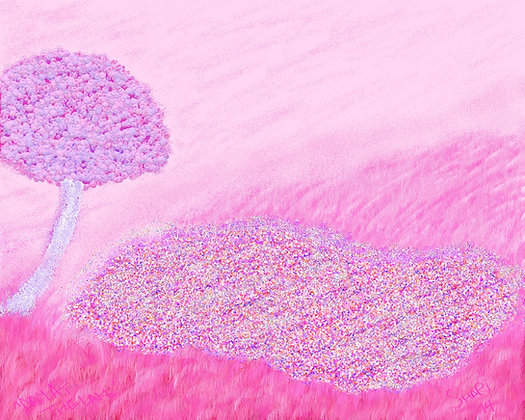 Day At The Lake by Shari P Kantor spkcreative.com digital art abstract natural landscape in pinks and purples