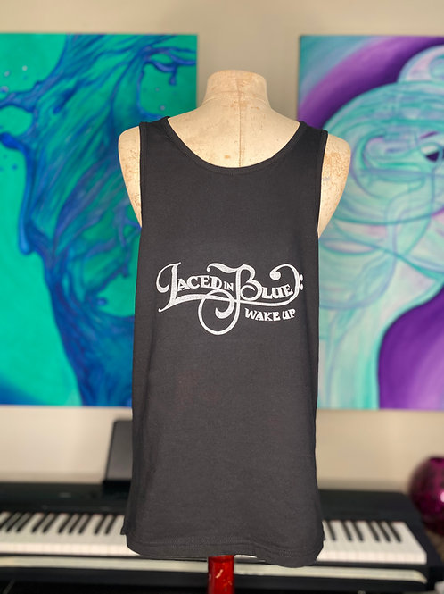 Laced in Blue Wake Up Font Front Logo Back Long Tank Black