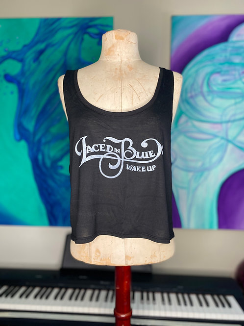 Laced in Blue Wake Up Font Crop Tank Black
