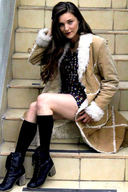 kaylee-robin-laced-in-blue-stairs-steps-leather-jacket-brown-black-boots-flower-dress