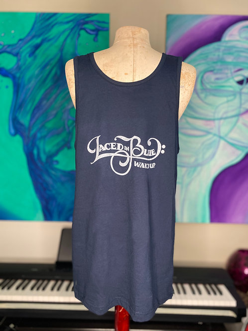 Laced In Blue Wake Up Font Front Logo BackTank Top Navy