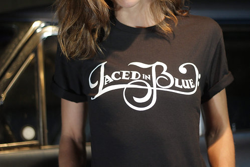 Laced in Blue Basic White Font Black T-Shirt