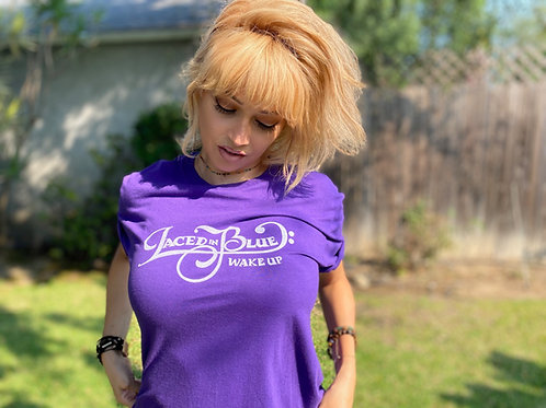 Basic Laced in Blue Wake up Font T-Shirt Logo Back Purple