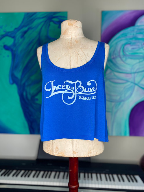 Laced in Blue Wake Up Font Crop Tank