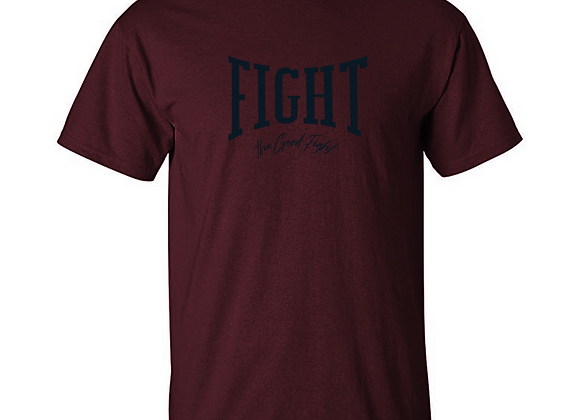 "DEEP MAROON ""FIGHT"" TEE"