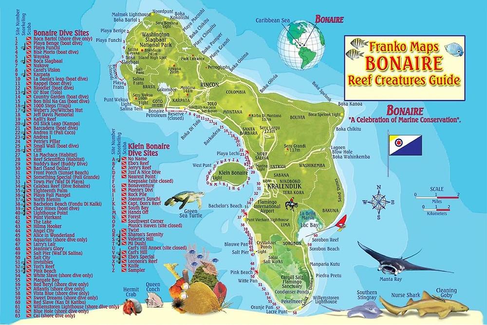 Mapa de Mergulho de Bonaire