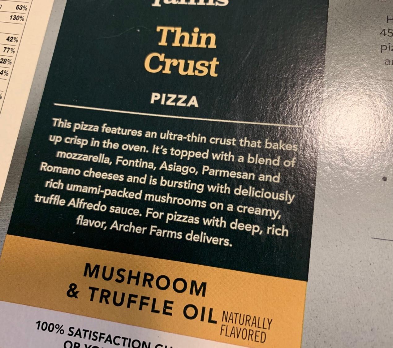 archer farms mushroom truffle oil frozen pizza box