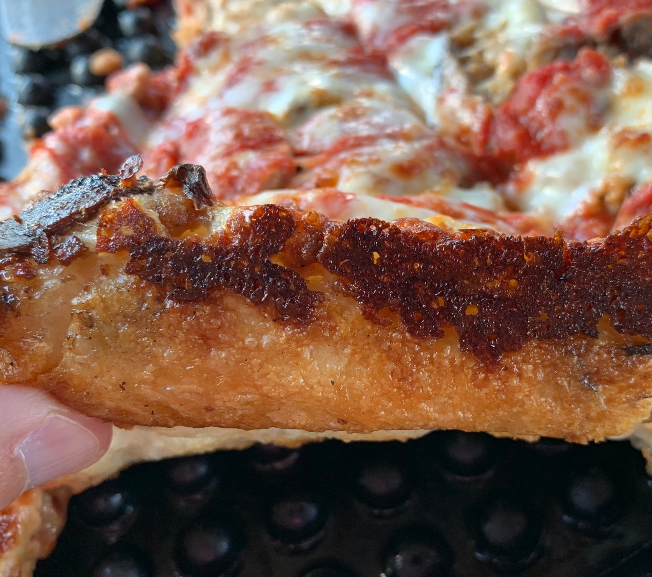 crispy edges on crust at chicago's pizza