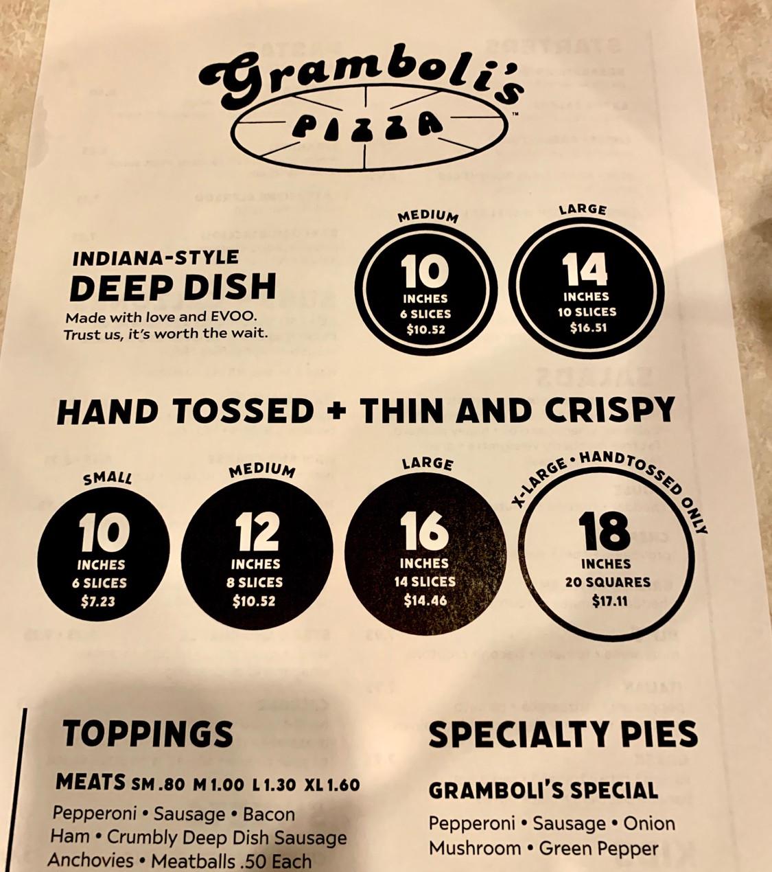 gramboli's pizza menu