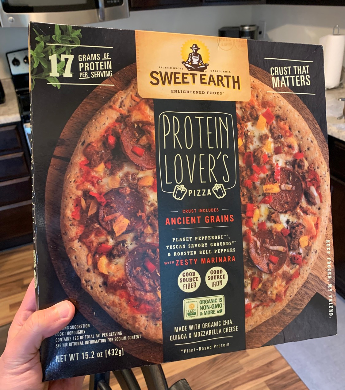 photo of sweet earth protein lover pizza box