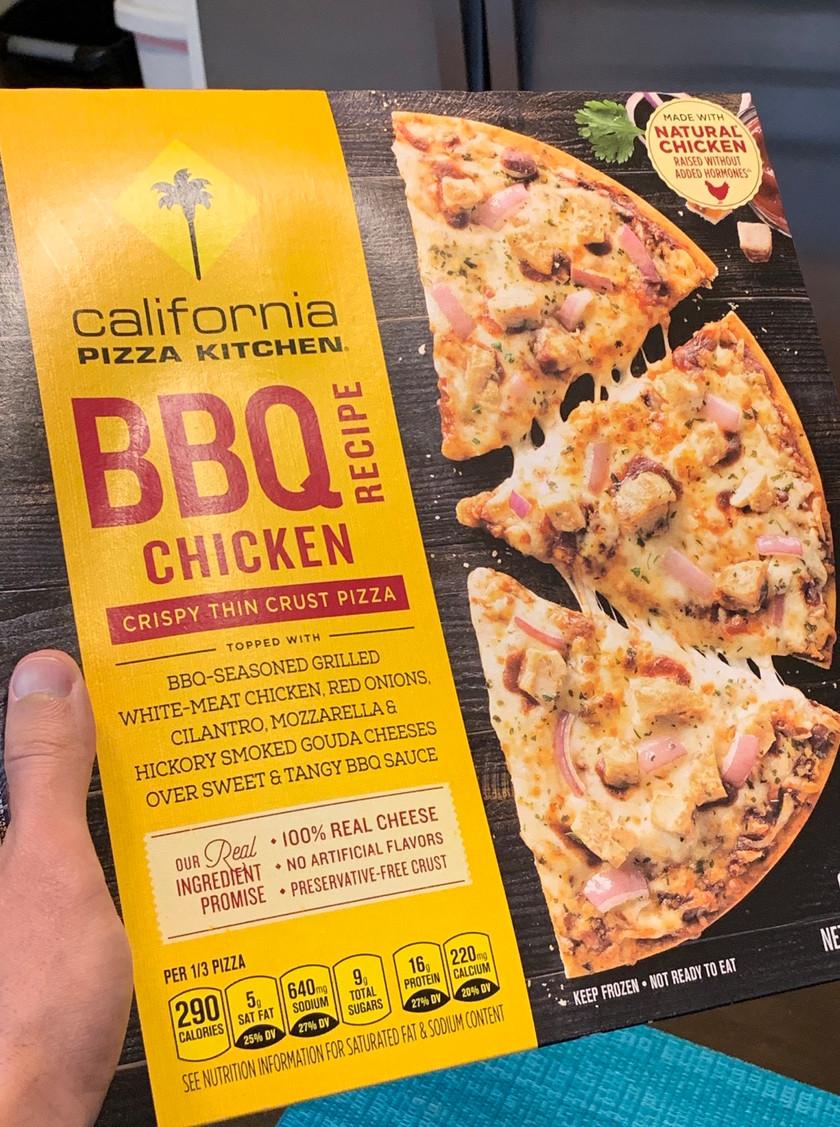 front of box bbq chicken frozen pizza