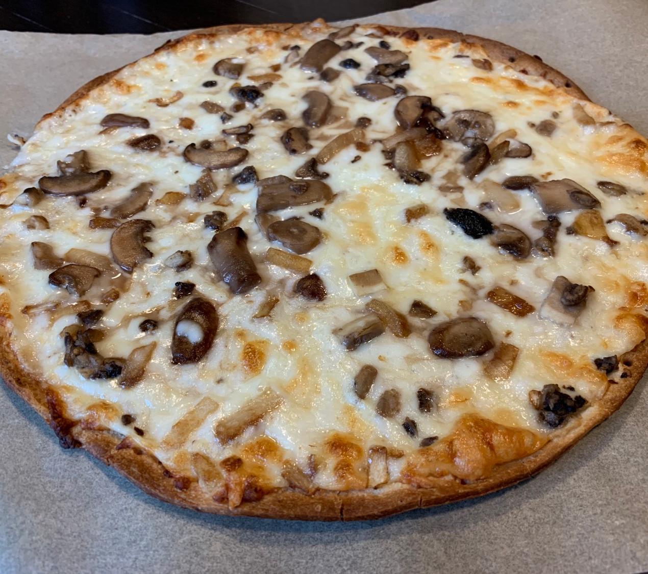 mushroom truffle thin crust pizza