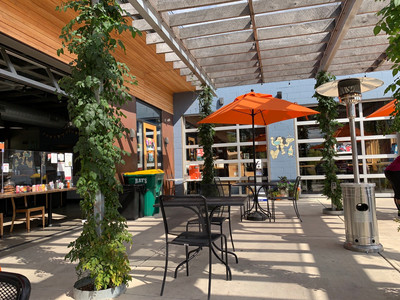 patio with heaters at king dough downtown indianapolis