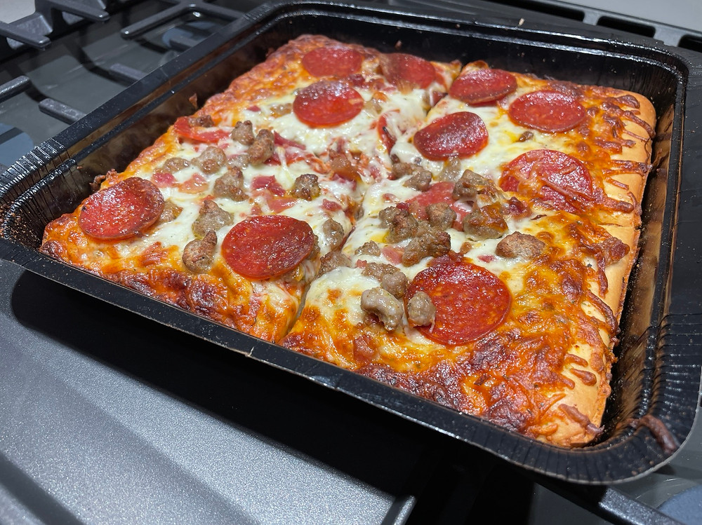 motor city pizza co three meat detroit style