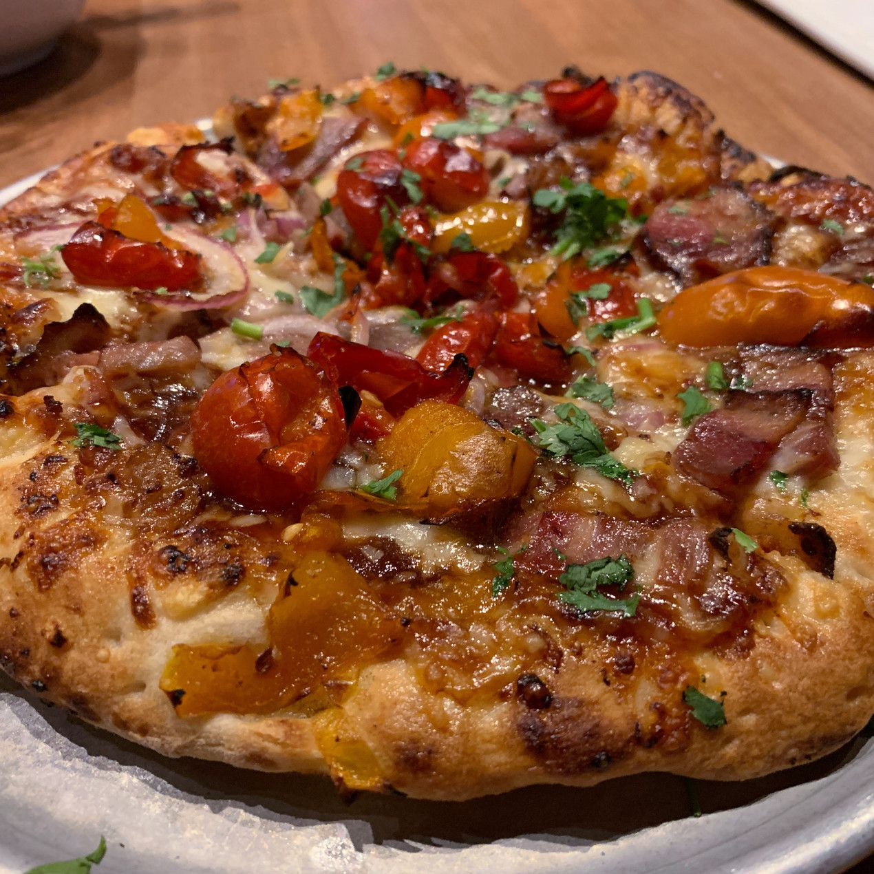 smokehouse brisket pizza with peppadew