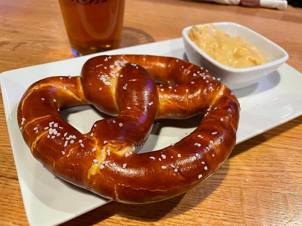 big woods pretzel with beer cheese