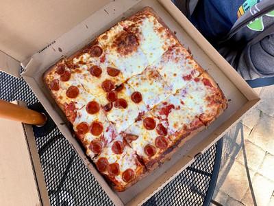 square pizza half pepperoni half cheese