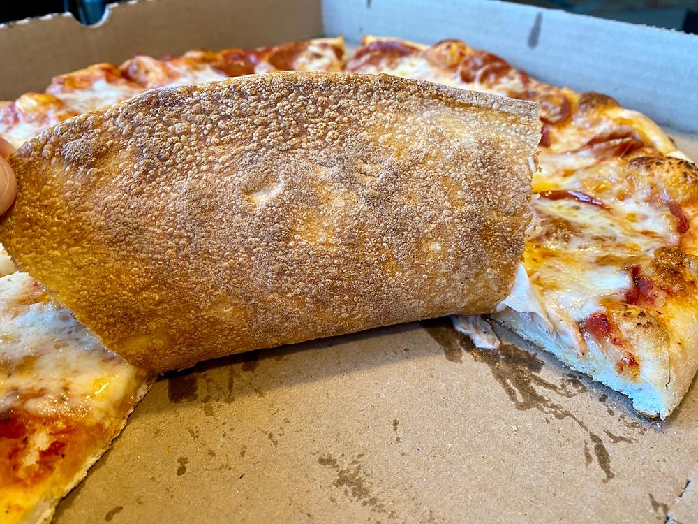 crisp on bottom of pizza