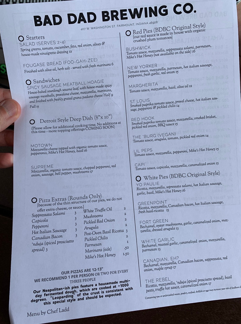 bad dad brewing co menu indiana