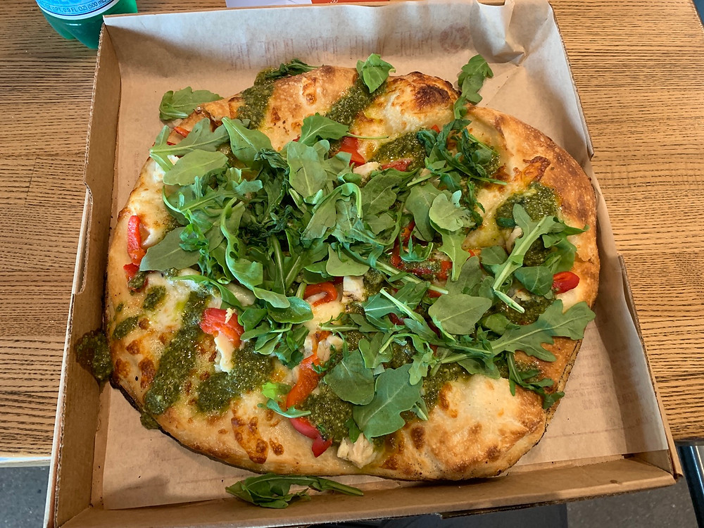 blaze green stripe arugula pizza