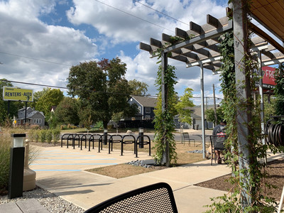 patio and bike racks at king dough downtown indy