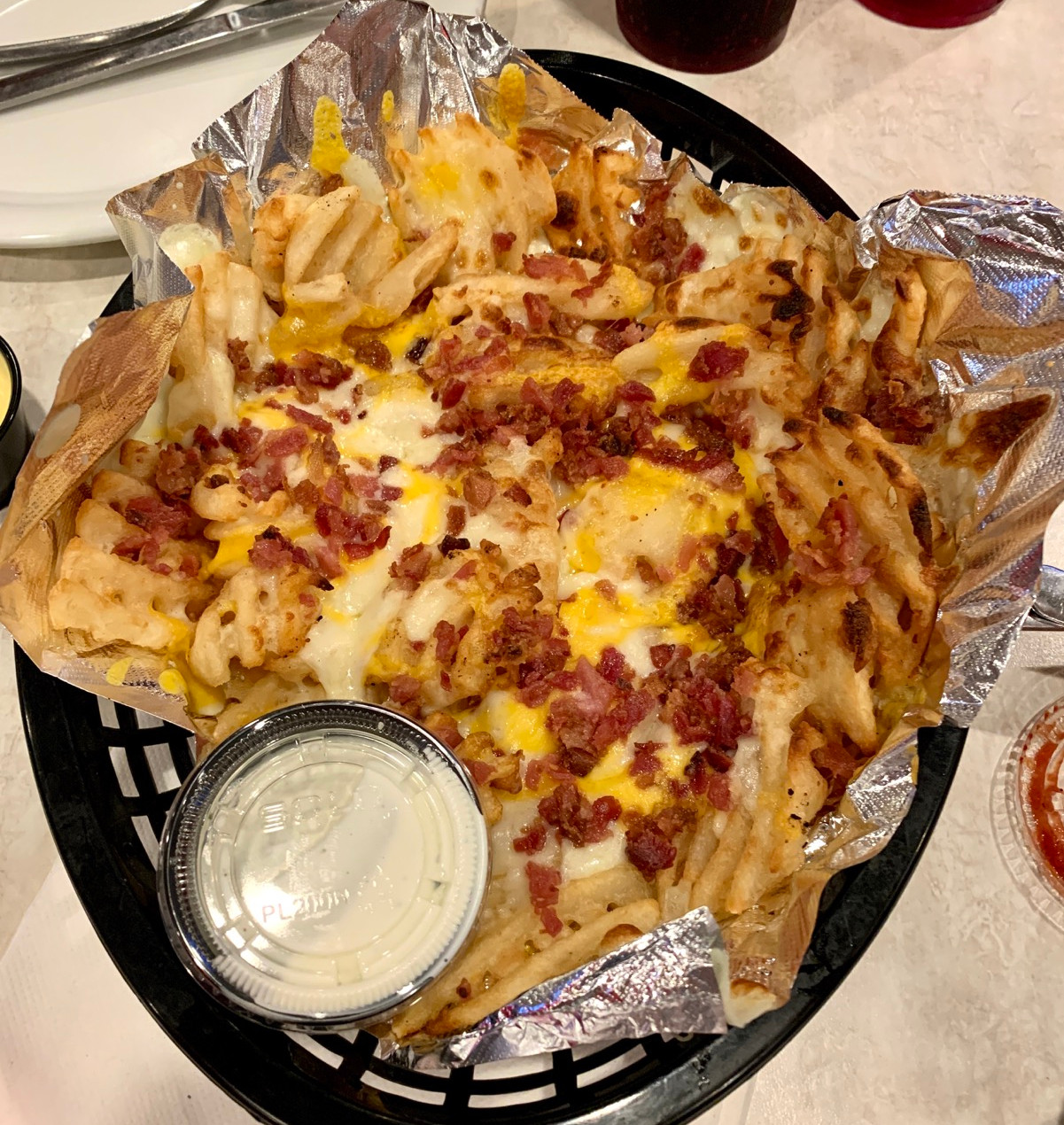 cheese bacon waffle fries with ranch dipping sauce