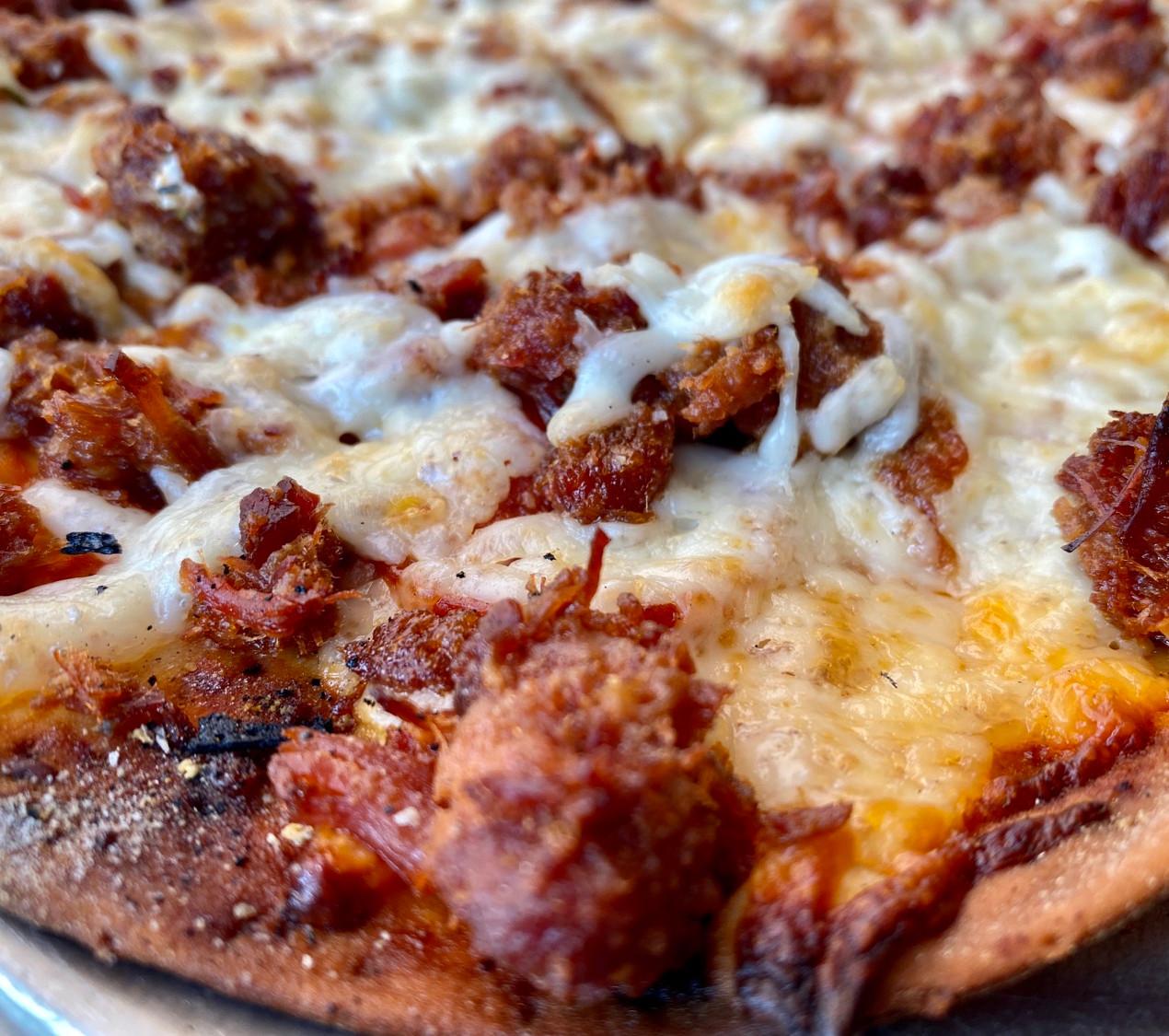 smoking goose bacon thin crust pizza