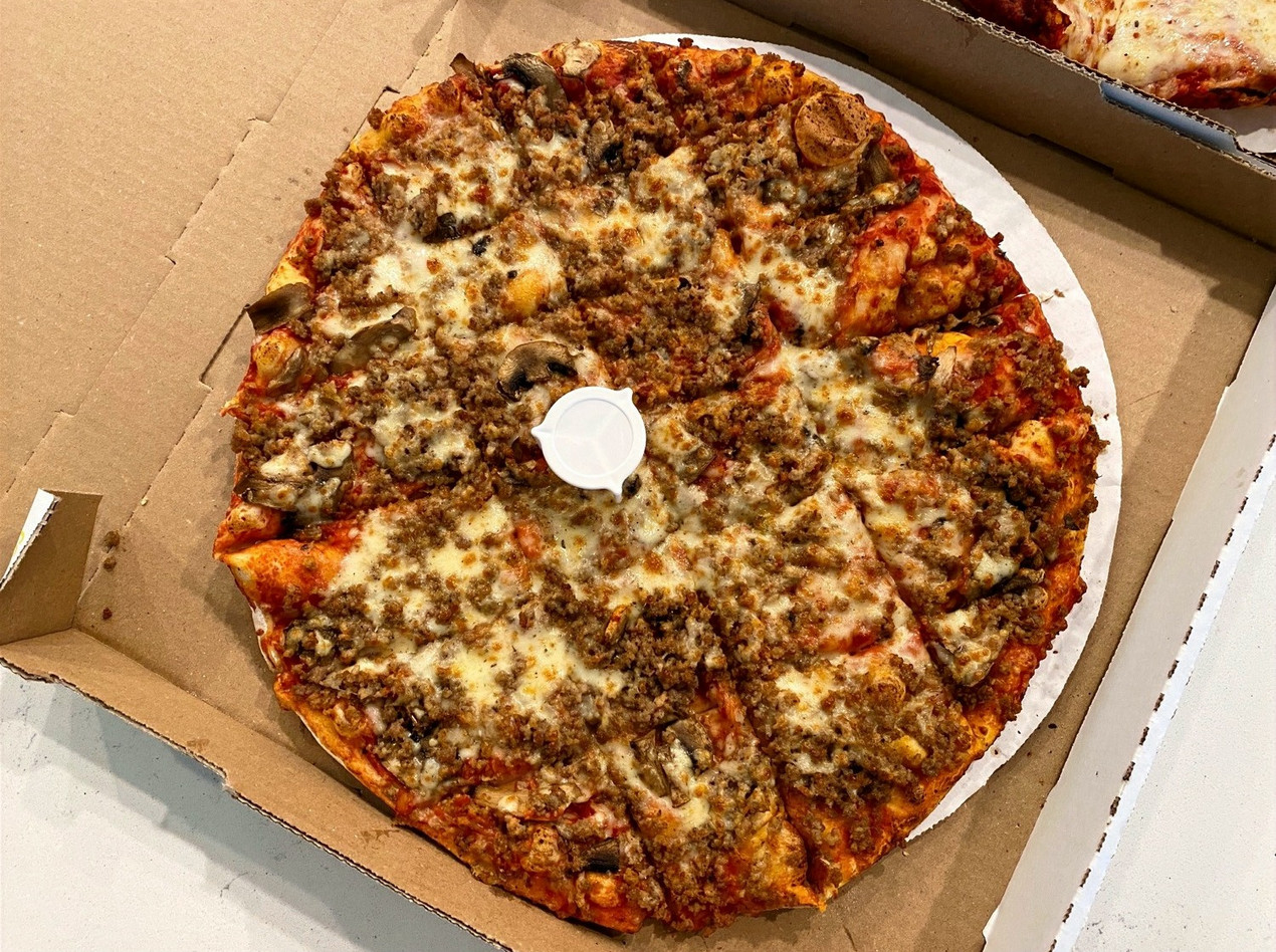 top view of pizza king square cut pizza