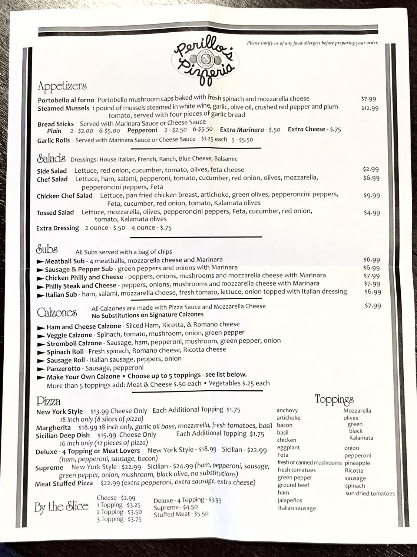 Perillo's Pizza North Salem menu photo