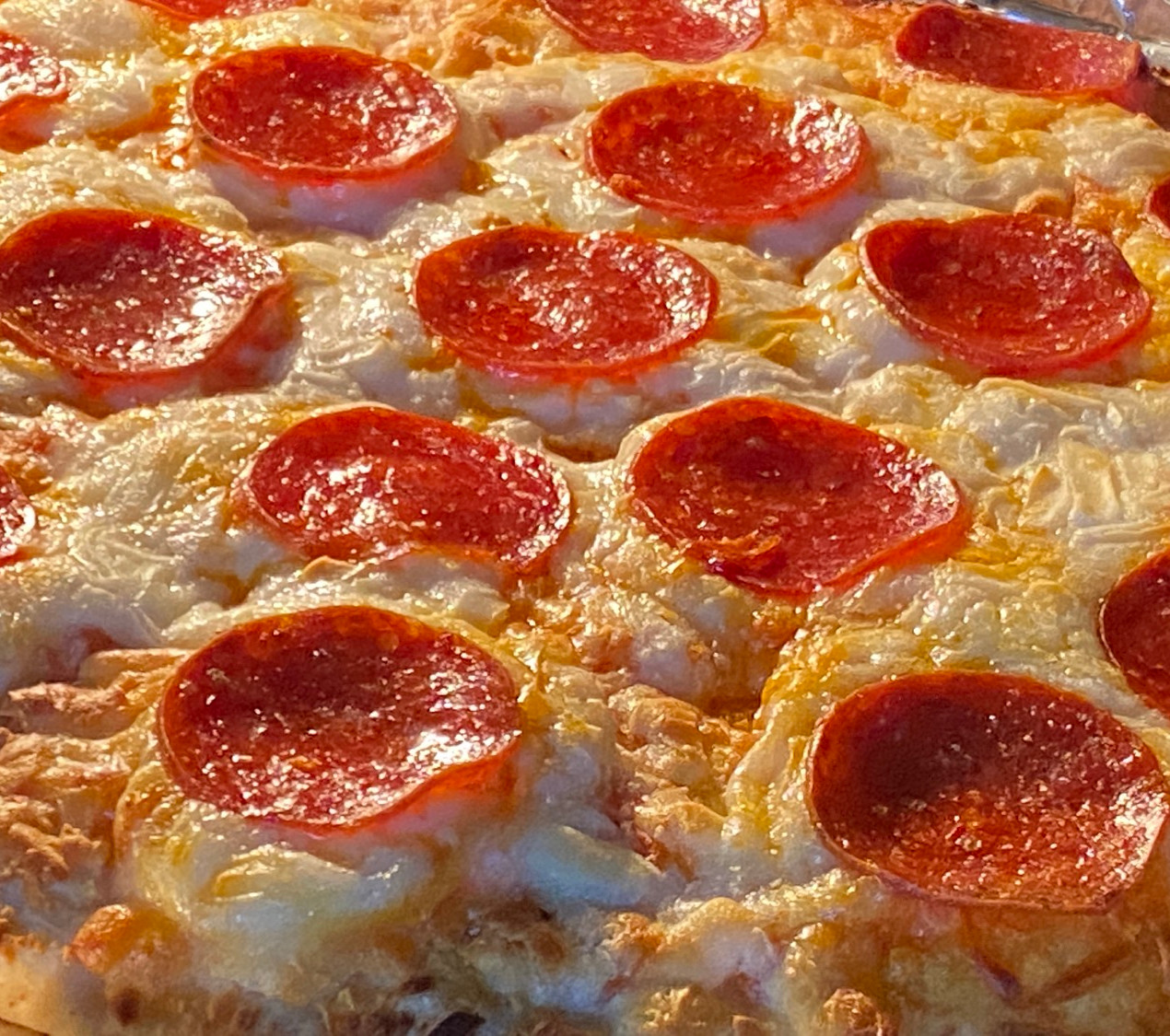 pepperoni pizza with oven cook light on