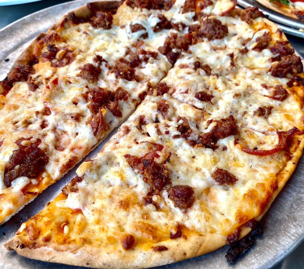 thin crust pepperoni bacon pizza indiana