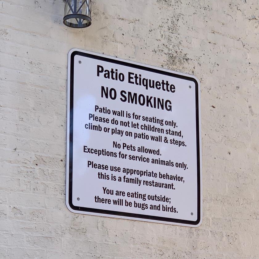 funny patio etiquette sign