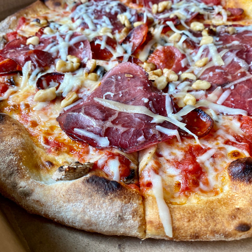 bresaola on wood fired pizza